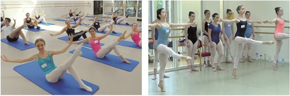 Pilates class (left) and Contemporary class (right)