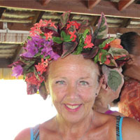 Gillian Farr (in a handmade Polynesian headdress)
