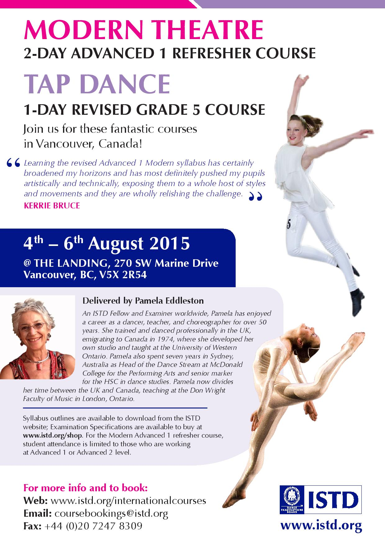 Canada courses August 2015 - Modern Theatre and Tap Dance