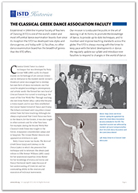 A history of the ISTD's Classical Greek Dance Faculty