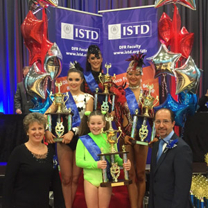 Winners Leah Harris, Jessica Andrews, Roni-Lea Farnes and Imperial Dancer 2015 Keira Busby with Chair Yvonne Taylor Hill and Vice Chair Paul Streatfield