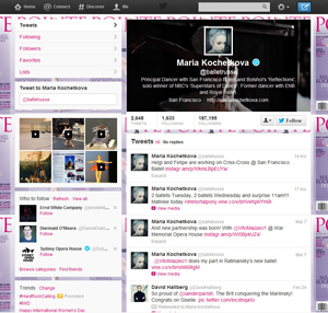 The Twitter profile for dancer Maria Kochetkova