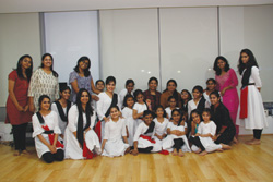 Artistic Director Pali Chandra with Examiner Sujata Banerjee and students after the inaugural Kathak examinations  in Dubai
