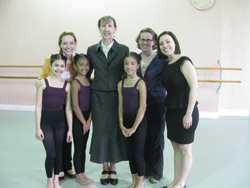 Teachers Kate Kernaghan, Debra Arlette and Elizabeth Ferenc from Balletomane in Oakville, Ontario, Canada with their Modern students and examiner Helen Green