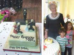 Peggy Spencer's birthday - a birthday cake made by a pupil and at home with Jakey and Katya