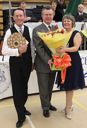A winning Red Velvet Tango gives Barry Earnshaw and Beverley Murch-Fowkes the trophy this year presented by Dancesport Chairman, Richard Hunt