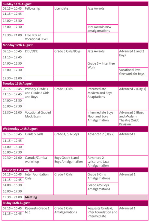 Modern Theatre - Summer Schools Timetable