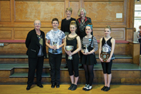 Paddy Hurlings (L )Myra Tiffin centre and Jackie Hayward( R) with the Senior section winners