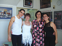 Sarah Duarte and Eduardo Ramos, the first two Advanced 2 Tap candidates to take their exams at the school, with Carole Moseley and Ana Mangericao